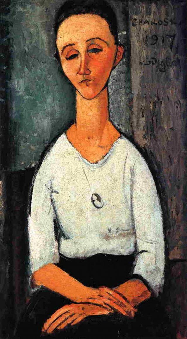 <em>Chakoska</em>, Amedeo Modigliani, 1917. Doado em 1952 por: Banco Nacional Imobiliário S.A, Banco da Lavoura de Minas Gerais S.A, Banco Moreira Salles S.A, Orozimbo Roxo Loureiro