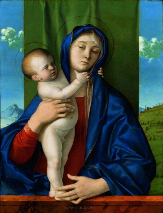 <em>A Virgem com o menino de pé, abraçando a mãe</em>, Giovanni Bellini, 1480/1490. Doado em 1957 por Walther Moreira Salles