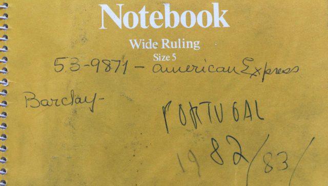 Capa de caderno de Ivan Lessa com anotações sobre Portugal. Arquivo Ivan Lessa / Acervo IMS