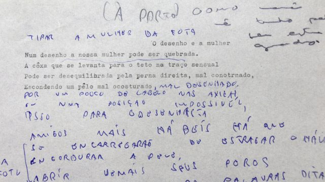 Trecho de manuscrito de Ivan Lessa. Arquivo Ivan Lessa / Acervo IMS