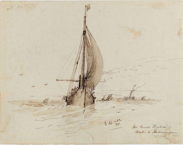 Nel Canale Inglese - Piloti di Antewerpen, 1871. Desenho de Edoardo de Martino / Acervo IMS