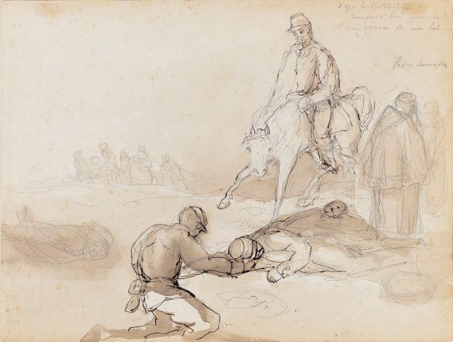 Doppo la battaglia, c.1869-1876. Desenho de Edoardo de Martino / Acervo IMS