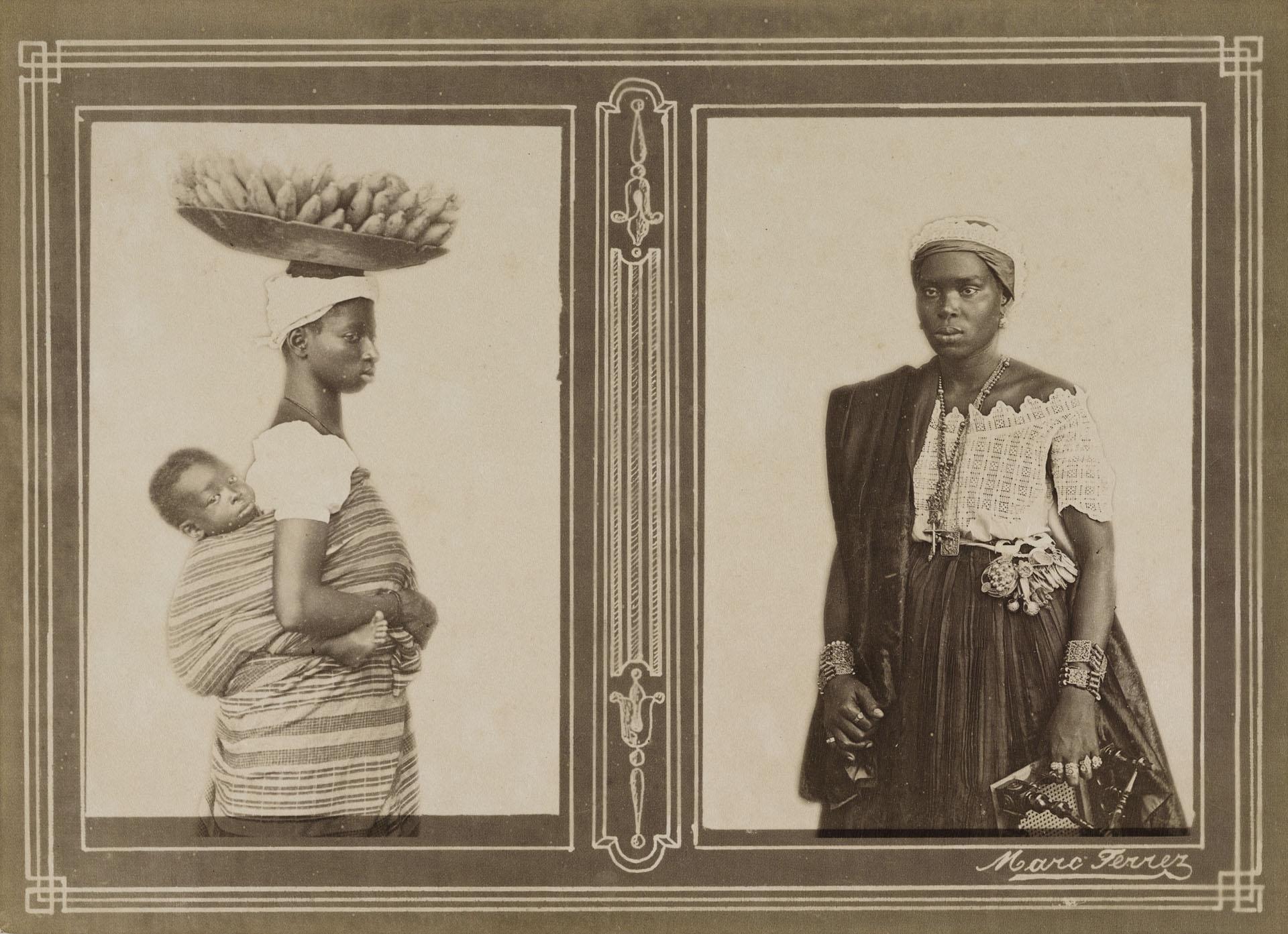 Vendedora de ganho e baiana em traje de beca da Irmandade da Boa Morte. Bahia, c. 1880. Foto de Marc Ferrez. Coleção Gilberto Ferrez / Acervo IMS