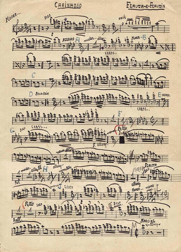 """Arranjo de Pixinguinha, de 29 de agosto de 1938, para """"Carinhoso"""" (parte de flauta e flautim), composição dele e de João de Barro, o Braguinha. Arquivo Pixinguinha/ Acervo IMS"""