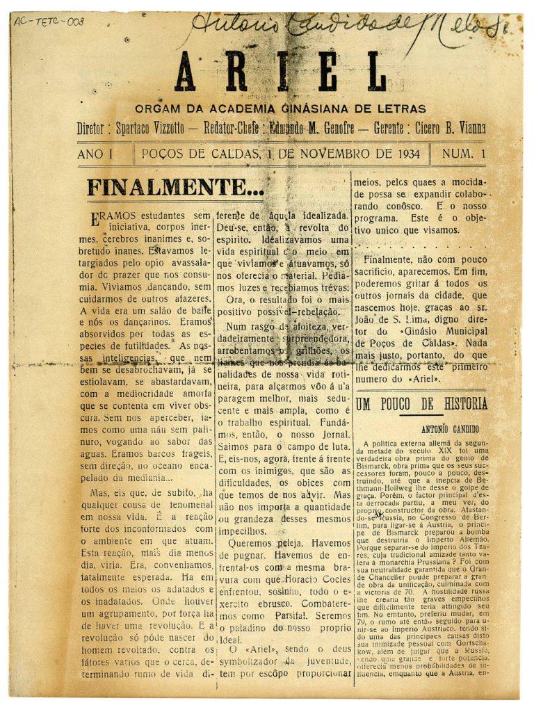 """Cópia do primeiro número do periódico  """"Ariel"""", feito por alunos do Ginásio Municipal de Poços de Caldas, MG.   1-11-1934 / Arquivo do IEB-USP - Fundo Antonio Candido"""