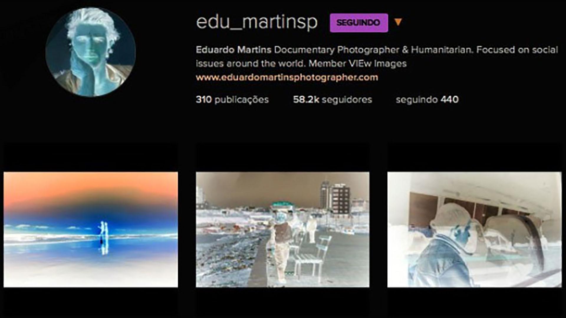 Reprodução do perfil de Instagram do falso fotógrafo Eduardo Martins