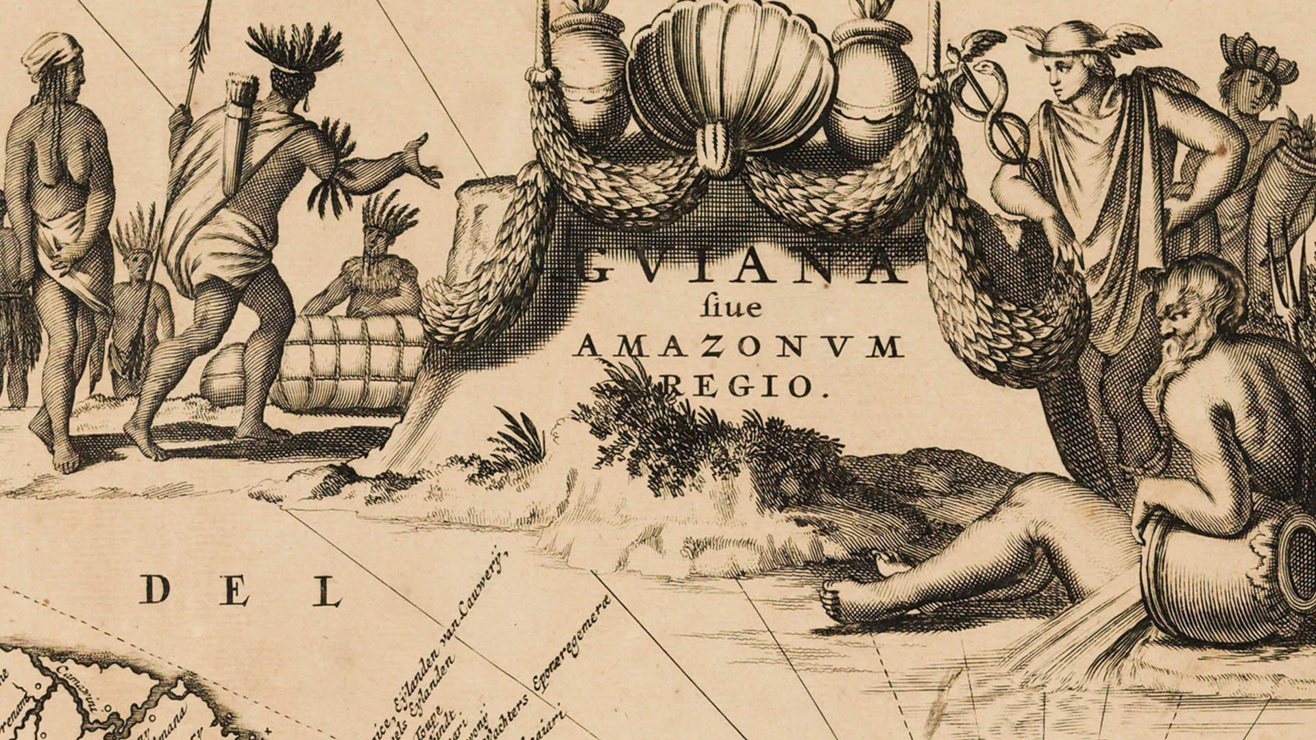 Detalhe de Guiana fiue Amazonum régio, c.1671, de John Ogilby, 1600-1676 (a partir de Arnoldus Montanus, 1625?-1683)