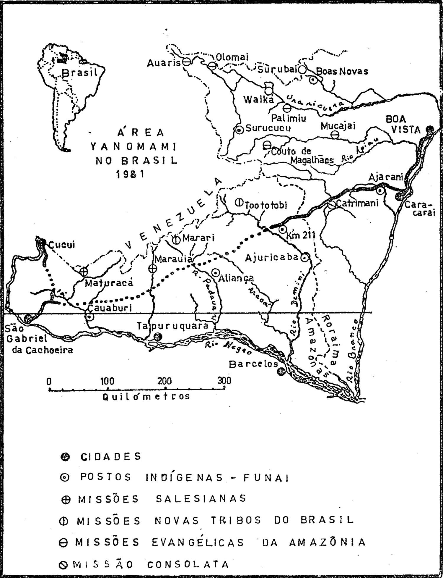 Desenho em traço preto mostrando cidades, postos da FUNAI e missões no território Yanomami no Brasil