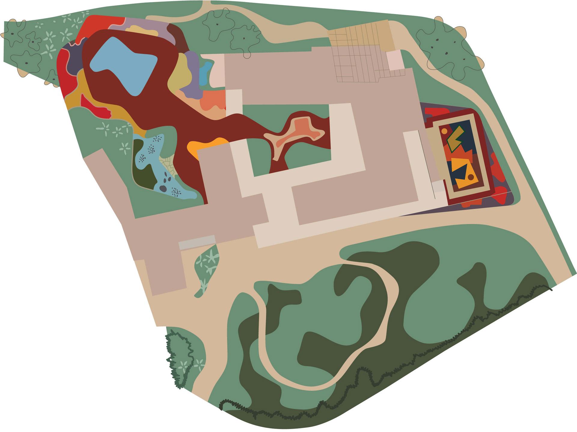Mapa do jardim do IMS Rio, 1951. Pintura de Roberto Burle Marx