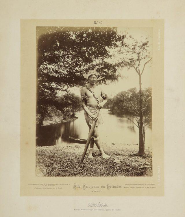 """Frisch descreve o indígena Amaúa como """"antropófago"""". Alto Amazonas ou Solimões, Amazônia, 1867-68. Imagem publicada pela Casa Leuzinger em 1869, no conjunto <em>Resultado de uma expedição fotográfica pelo Solimões ou Alto Amazonas e pelo rio Negro</em>. Fotografia de Albert Frisch / Acervo IMS"""
