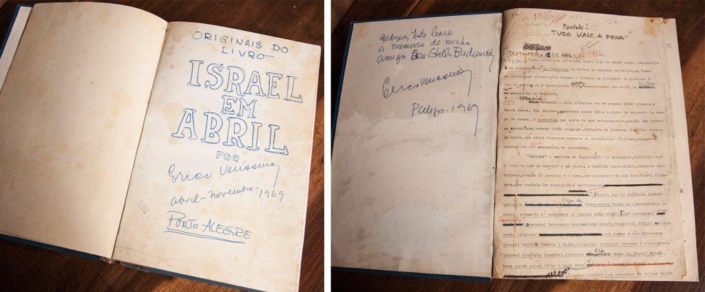 """Páginas dos originais de """"Israel em abril"""", de Erico Verissimo. Fotos de Raul Krebs"""