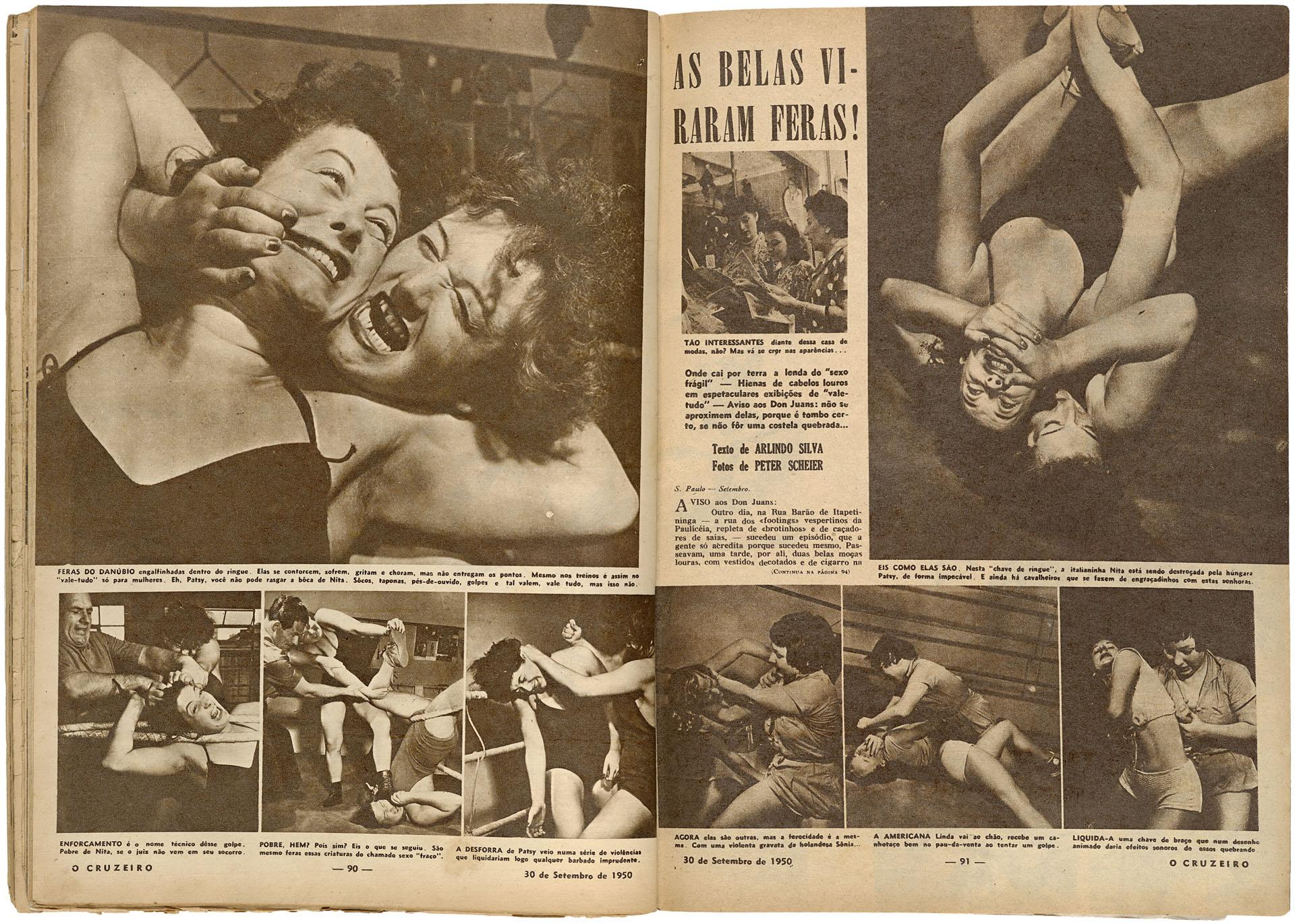 """Reportagem """"As belas viraram feras"""". Fotos de Peter Scheier, texto de Arlindo Silva. Revista O Cruzeiro, ano XXII, n. 50. 30-9-1950, pp. 90-93 / Acervo IMS"""