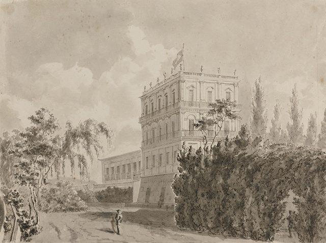 Palácio de São Cristóvão, um dos locais onde o capitão Lucas e o capelão de bordo demonstraram a daguerreotipia em janeiro de 1840. Desenho de Benjamin Mary / Museu Imperial / Arquivo Histórico, Petrópolis