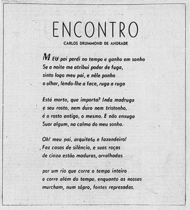 """Destaque do soneto """"Encontro"""",  publicado no Correio da Manhã. Acervo BN/Hemeroteca Digital"""