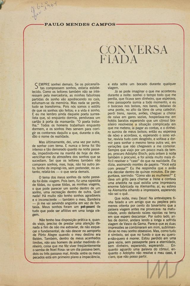 """""""Conversa fiada"""", que dá continuidade ao tema, publicada em 1<sup>0</sup> de dezembro de 1962. Acervo Paulo Mendes Campos/ IMS"""