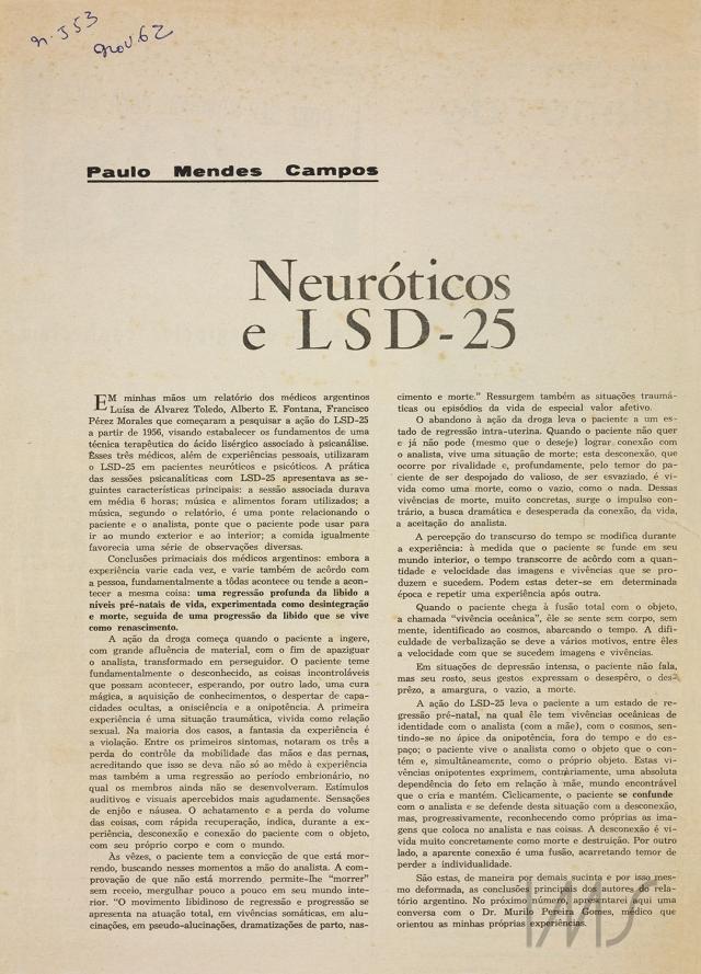 """""""Neuróticos e LSD"""", publicada em 24 de novembro de 1962. Acervo Paulo Mendes Campos/ IMS"""
