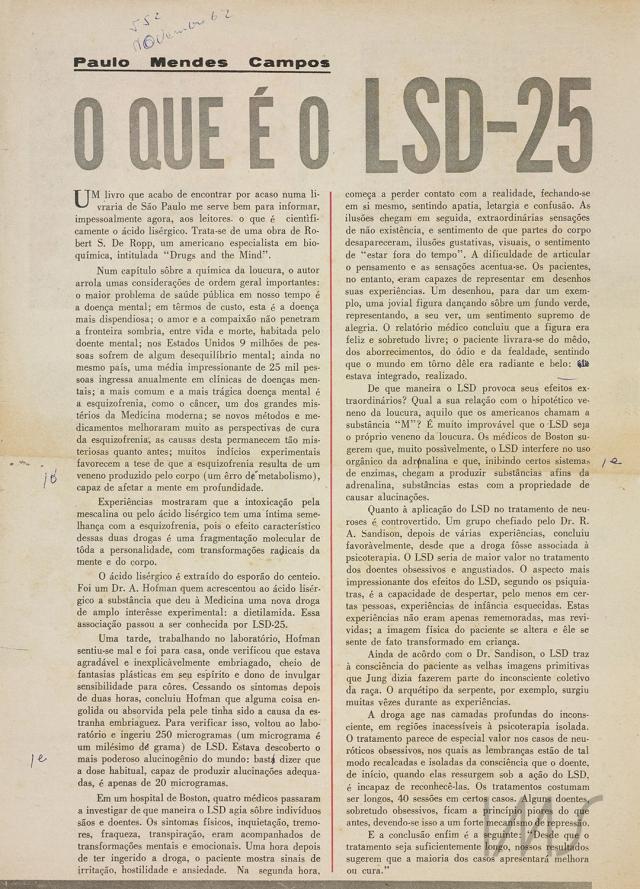 """""""O que é o LSD-25"""", primeira de uma série de quatro crônicas de Paulo Mendes Campos publicadas na revista <em>Manchete</em>. Esta é de 17 de novembro de 1962. Acervo Paulo Mendes Campos/ IMS"""