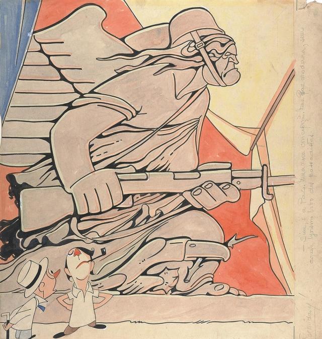 <em>Formidável!</em>, desenho em nanquim, guache e grafite sobre papel, 1945. Coleção Eduardo Augusto de Brito e Cunha/ Instituto Moreira Salles